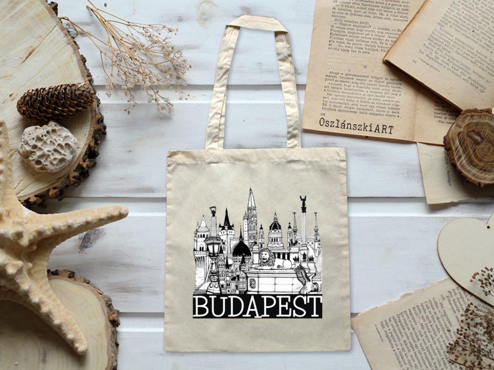 Budapest mintás vászon táska