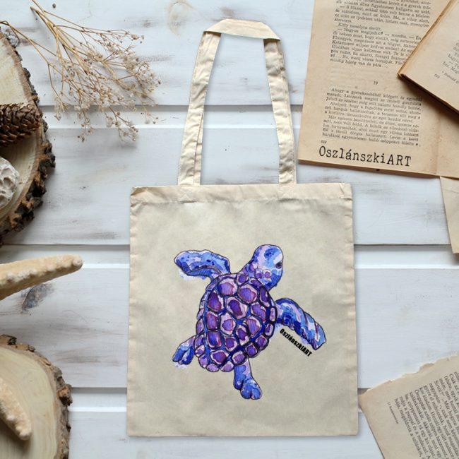 teknős mintás vászon táska